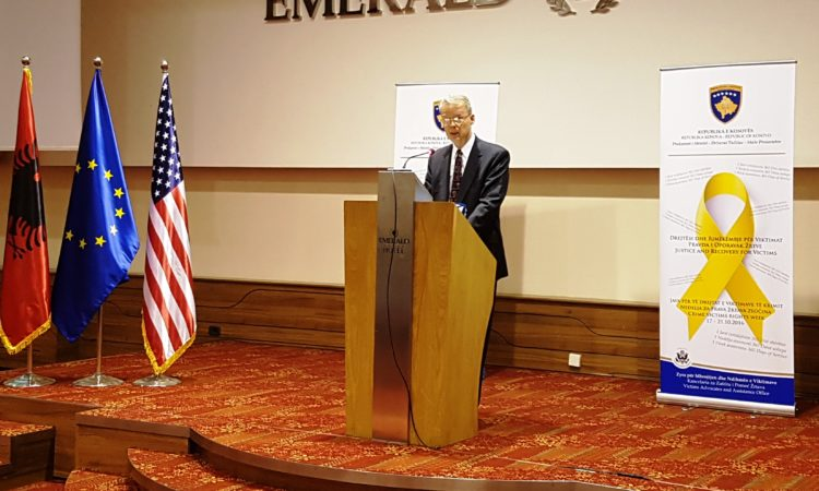 """Ambassador Delawie's Remarks at the """"National Conference to Mark the Crime Victims' Rights Week in Kosovo"""", October 17, 2016"""